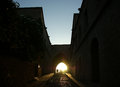 Medieval avenue of the knights at night rhodes citadel greece a cobblestone street in Royalty Free Stock Photo