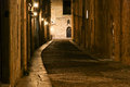 Medieval avenue of the knights at night rhodes a cobblestone street in citadel greece Royalty Free Stock Images