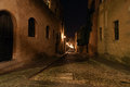 Medieval avenue of the knights at night rhodes a cobblestone street in citadel greece Royalty Free Stock Photo