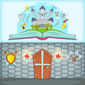 Medieval banner set horizontal, cartoon style Royalty Free Stock Photo