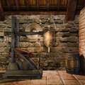 Medieval blacksmith s chamber with weapons and tools Royalty Free Stock Photos