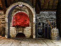Medieval blacksmith s furnace and tools Stock Images
