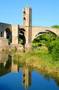 Medieval bridge in Besalu, Spain Stock Photography