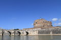 Medieval bridge and castle on tiber river in rome Royalty Free Stock Photography