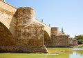 Medieval bridge over ebro river in zaragoza aragon Royalty Free Stock Image