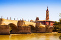 Medieval bridge over ebro in zaragoza river aragon Royalty Free Stock Images