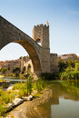 Medieval bridge wuth gate besalu catalonia Stock Images
