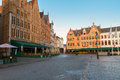 Medieval buildings on the Market Square, Brugge Royalty Free Stock Photo