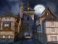 Medieval buildings at night full moon scenery with Stock Photo