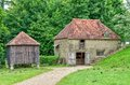 Medieval buildings in singleton museum reconstructed at sussex england one of stone with tiled roof x stable x the other made of Royalty Free Stock Image