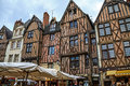 Medieval buildings in tours france june half timbered houses dating from the th century on plumereau square famous of bustling Stock Image