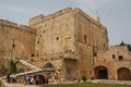 Medieval castle of acre israel april tourists visiting the Stock Photography