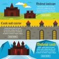 Medieval castle banner horizontal set, flat style