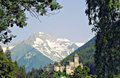 Medieval castle these is located in the north of south tyrol italy it is the taufers in sand in taufers in the background Stock Photography