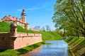 Medieval castle nesvizh and fortress moat with water belarus town Royalty Free Stock Photography