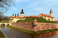Medieval castle in nesvizh is a unesco world heritage site republic of belarus Stock Photo