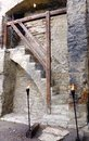 Medieval castle stairs. Torches at the entrance. Royalty Free Stock Photo