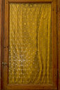 Medieval castle yellow glass door detail Royalty Free Stock Photo
