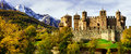 Medieval castles of Italy - Fenis in Valle Aost Royalty Free Stock Photo