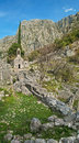 Medieval chapel in mountains vertical panorama Royalty Free Stock Photo