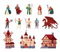 Medieval Characters Set Royalty Free Stock Photo