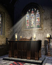 Medieval church altar with a book and candles Royalty Free Stock Image
