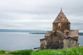 Medieval church on sevan lake in armenia Stock Photos