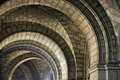 Medieval church stone arches gothic detail Stock Photos
