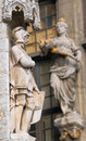 Medieval city hall in brussels belgium gothic statue of a knight from facade of Royalty Free Stock Images
