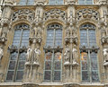 Medieval city hall of gent details gothic facade in historical center belgium Royalty Free Stock Photo