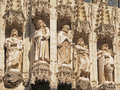 Medieval city hall on grand place gothic statues facade of in brussels in sunny day Stock Images