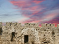 Medieval city walls in rhodes town greece Stock Photo