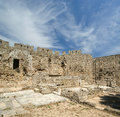Medieval city walls in rhodes town greece Stock Photography