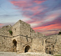 Medieval city walls in rhodes town greece Royalty Free Stock Photos