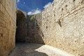 Medieval city walls in rhodes town greece Royalty Free Stock Image