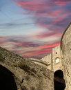 Medieval city walls in rhodes town greece Stock Image