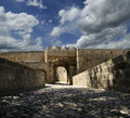 Medieval city walls in rhodes town greece Royalty Free Stock Photo