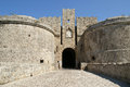 Medieval city walls in rhodes town greece Royalty Free Stock Images