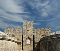 Medieval city walls in rhodes town greece Royalty Free Stock Photography
