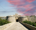 Medieval city walls in rhodes town greece Stock Images