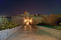 Medieval city walls in rhodes town night greece Stock Photography