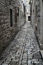 A medieval cobbled street i Royalty Free Stock Photo
