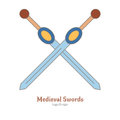 Medieval colorful logo emblem template, flat style