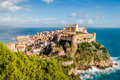 Medieval core of town of Gaeta, Italy, on a rock above the mediterranean sea Royalty Free Stock Photo