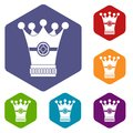Medieval crown icons set hexagon