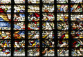 Medieval crusade battle scene of of a of immortalized in a stained glass window of a church Stock Photography