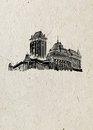 Medieval Czech castle drawn by hand in black ink, on beige rice paper background.