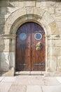 Medieval door wood of public hermitage guia virgin in ribadesella town asturias spain europe Stock Photo