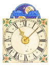 Medieval enamel clock face with moon rotation Royalty Free Stock Photo