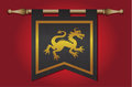Medieval flag with dragon emblem gold and black banner cloth texture and symbol of a Stock Photo